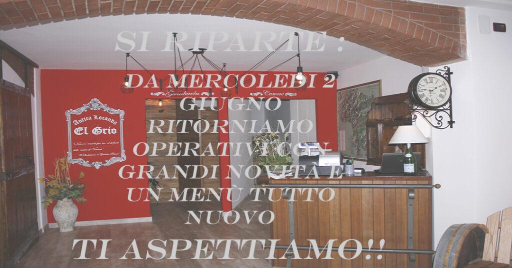 Gentile Cliente, con grande entusiasmo ti avvisiamo che da mercoledì 2 giugno il ristorante locanda El Grio